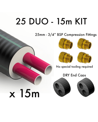 25 DUO Pre Insulated Heating Pipe - 15m KIT