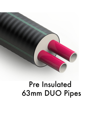 63 + 63 /182mm    Pre Insulated Heating Pipe