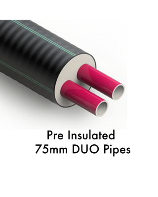 75 + 75 /202mm    Pre Insulated Heating Pipe
